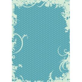 Дизайнерска хартия, А4 - Точки с орнаменти, тюркоаз 7