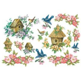 Оризова хартия 33х48см-Къщичка за птици