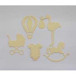 Хартиени елементи - бебешки, жълти