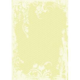Дизайнерска хартия, А4 - Точки с орнаменти, лайм 9