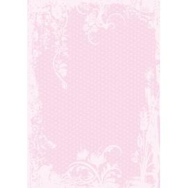 Дизайнерска хартия, А4 - Точки с орнаменти, розово 9