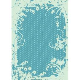 Дизайнерска хартия, А4 - Точки с орнаменти, тюркоаз 8