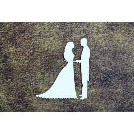 Бирен картон - силуети младоженци за ръка