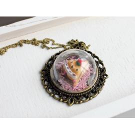 Стъклена висулка - медальон антик, 25 мм