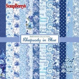 Дизайнерска хартия, блокчe - Rhapsody in blue 6х6 инча