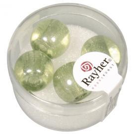 Стъклени мъниста в кутийка 14мм-зелени
