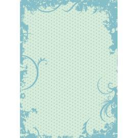 Дизайнерска хартия, А4 - Точки с орнаменти, тюркоаз 2