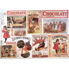 Оризова хартия 33х48см-Шоколадови картички
