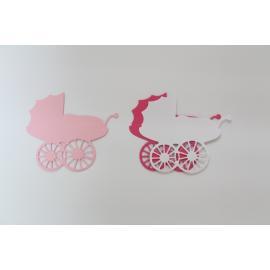 Хартиени елементи - бебешки колички, бяло и розово