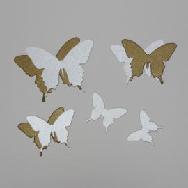 Хартиени елементи - пеперуди, бронз и екрю