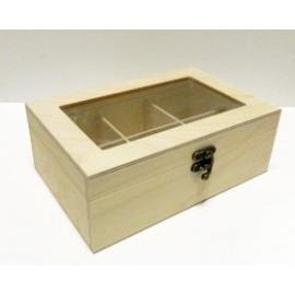 Дървена кутия за чай със стъклен капак