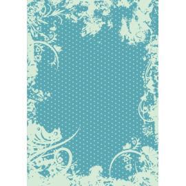 Дизайнерска хартия, А4 - Точки с орнаменти, тюркоаз 10
