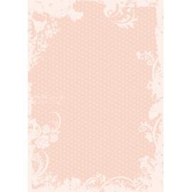 Дизайнерска хартия, А4 - Точки с орнаменти, праскова 6