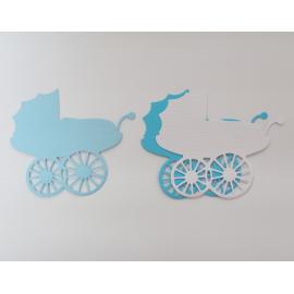 Хартиени елементи - бебешки колички, бяло и синьо