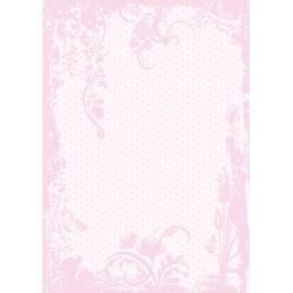 Дизайнерска хартия, А4 - Точки с орнаменти, розово 4