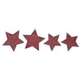 Самозалепящи звездички с брокат, червени