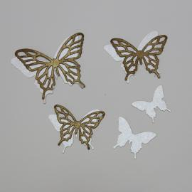 Хартиени елементи - детайлни пеперуди, бронз