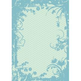 Дизайнерска хартия, А4 - Точки с орнаменти, тюркоаз 3