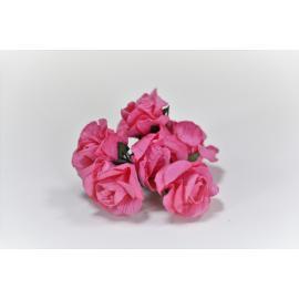 Хартиени цветя 25 мм, 6 бр, розови