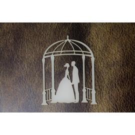 Бирен картон - младоженци с арка