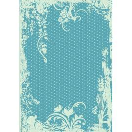 Дизайнерска хартия, А4 - Точки с орнаменти, тюркоаз 9