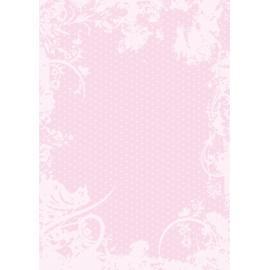 Дизайнерска хартия, А4 - Точки с орнаменти, розово 10
