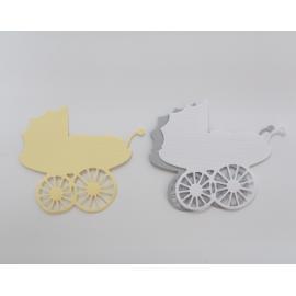 Хартиени елементи - бебешки колички,бяло, жълто и сиво