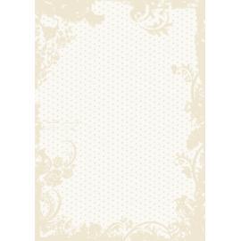 Дизайнерска хартия, А4 - Точки с орнаменти, бежово 1