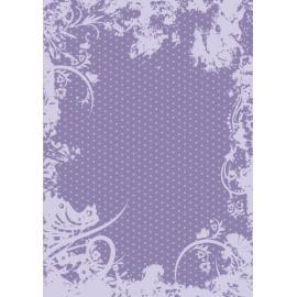 Дизайнерска хартия, А4 - Точки с орнаменти, лилаво 10