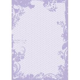 Дизайнерска хартия, А4 - Точки с орнаменти, лилаво 1