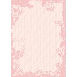 Дизайнерска хартия, А4 - Точки с орнаменти, пудра 1