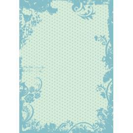 Дизайнерска хартия, А4 - Точки с орнаменти, тюркоаз 1