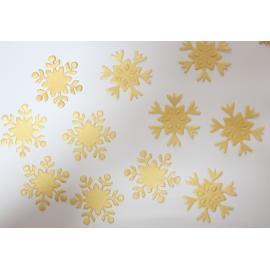 Хартиени елементи - снежинки, златни