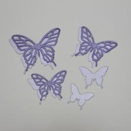 Хартиени елементи - детайлни пеперуди, лилави
