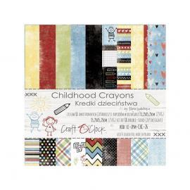 Дизайнерска хартия, блокчe - Childhood Crayons, 6x6 инча