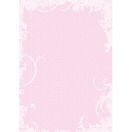 Дизайнерска хартия, А4 - Точки с орнаменти, розово 7