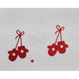 Хартиени елементи - ръкавички, бяло, червено