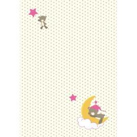 Дизайнерска хартия, А4 - бебе -мече на луна
