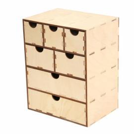 Дървена кутия с чекмеджета 19х13,5х24см