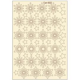 Бирен картон - сет 602 снежинки и звезди