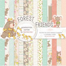 Дизайнерска хартия, блокчe - Forest Friends, 12x12 инча