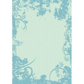 Дизайнерска хартия, А4 - Точки с орнаменти, тюркоаз 5