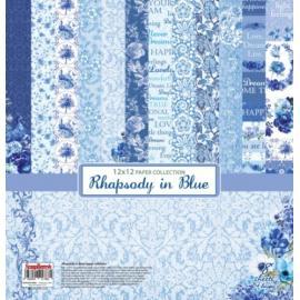 Дизайнерска хартия, блокчe - Rhapsody in blue, 12х12 инча