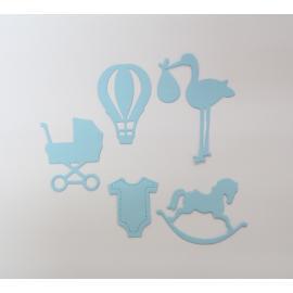Хартиени елементи - бебешки, светло сини