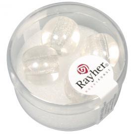 Стъклени мъниста в кутийка 14мм-бели
