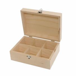 Дървена кутия за чай, 6 отделения
