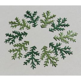 Хартиени елементи - клончета и листа, светло и тъмно зелени