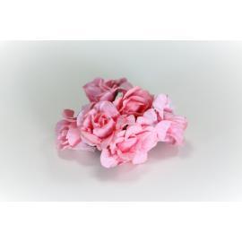 Хартиени цветя 25 мм, 6 бр,светло розови