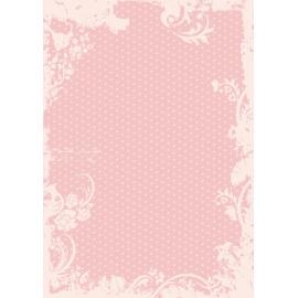 Дизайнерска хартия, А4 - Точки с орнаменти, пудра 6