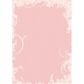 Дизайнерска хартия, А4 - Точки с орнаменти, пудра 7